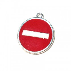 Metal Zamak Cast Charm No Entry Sign with Enamel 20x24mm