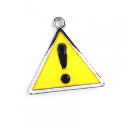 Metal Zamak Cast Charm Danger Sign with Enamel 21x22mm