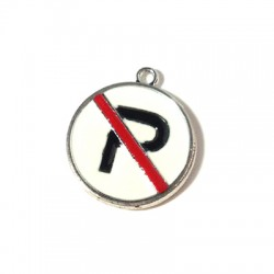 Metal Zamak Cast Charm No Parking Sign with Enamel 21x25mm