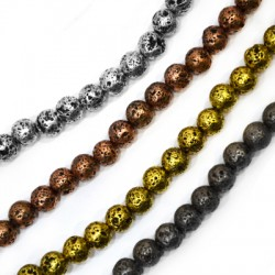 Lava Bead Plated 8mm (~45pcs/string)