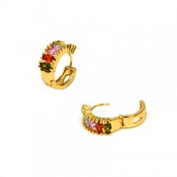 Brass Earring w/ Zircon 16mm