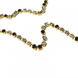Brass Chain With Glass Strass 2mm