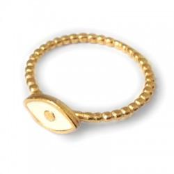 Enamelled Brass Finger Ring Evil's Eye 5.7x9.8mm