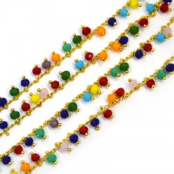 Glass Faceted 4mm Eyepin Chain