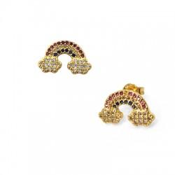 Brass Earring Rainbow w/ Zircon 9x22mm