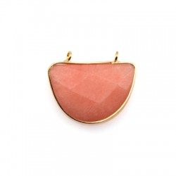 Brass Setting with Semiprecious Stone 22x32mm w/ 2 Rings