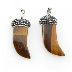 Tiger Eye Pendant Tooth 12x34mm with Strass