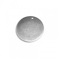 Charm in Ottone medaglietta Rotonda 20mm/spess.1mm (Ø1,2mm)