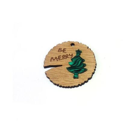 Ciondolo di Legno e Plexiacrilico Rotondo con Albero di Natale 45mm