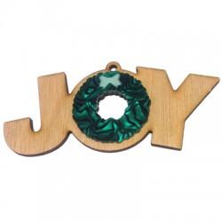 """Pendentif en Bois et Plexiacrylique """"JOY"""" 121x56mm"""