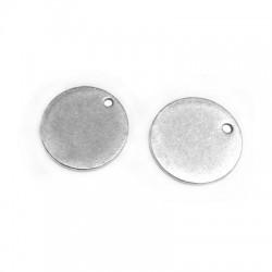 Charm in Ottone medaglietta Rotonda 15mm/spess.1mm (Ø1,2mm)