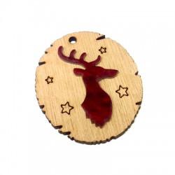 Wooden and Plexi Acrylic Pendant Deer 44x49mm