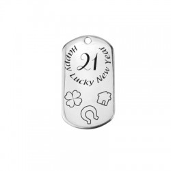 "Zamak Lucky Pendant Tag ""21"" 49x28mm (Ø2.5mm)"