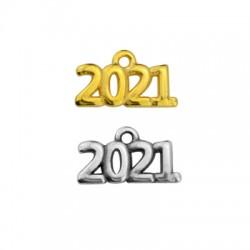 "Zamak Lucky Charm ""2021"" 17x7mm"