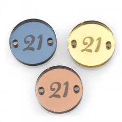 """Πλέξι Ακρυλικό Στοιχείο Γούρι Στρογγυλό """"21""""για Μακραμέ 17mm"""