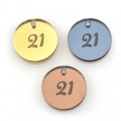 """Πλέξι Ακρυλικό Μοτίφ Γούρι Στρογγυλό """"21"""" 20mm"""