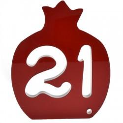 """Πλέξι Ακρυλικό Επιτραπέζιο Γούρι Ρόδι """"21"""" 83x100mm"""