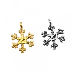 """Brass Lucky Charm Snowflake """"21"""" 15mm"""