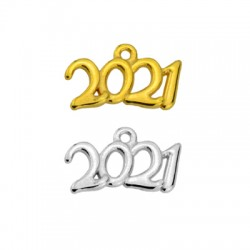 "Zamak Lucky Charm ""2021"" 20x10mm"
