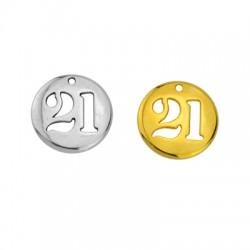 "Zamak Lucky Charm Round ""21"" 20mm (Ø1.8mm)"