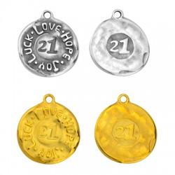 """Zamak Lucky Pendant Round Wishes """"21"""" 27mm"""