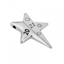 """Zamak Lucky Slider Star """"2021"""" 25x32mm (Ø2.2mm)"""