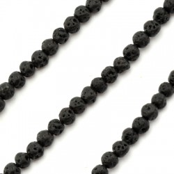 Ημιπολύτιμη Πέτρα Λάβα Χάντρα Μπίλια 4mm (~95τμχ/κορδόνι)