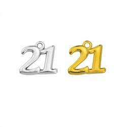 "Zamak Lucky Charm ""21"" 15x12mm"