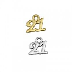 "Zamak Lucky Charm ""21"" 11x8mm"