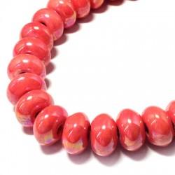 Perle Céramique Émaillée Aplatie 14mm (Ø 3.5mm)