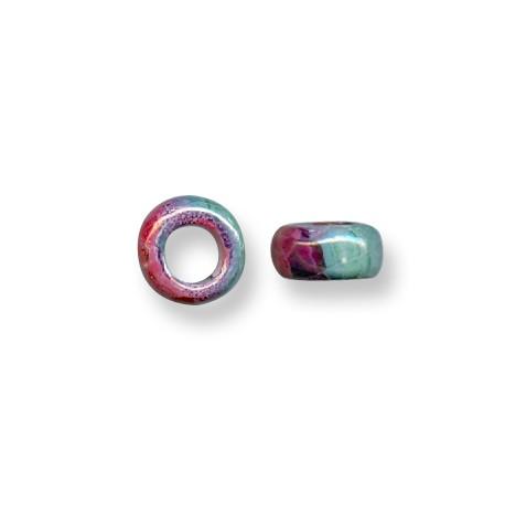 Enamel-Glazed One Color Ceramic Slider Tube Rondelle 6mm (Ø 8mm)
