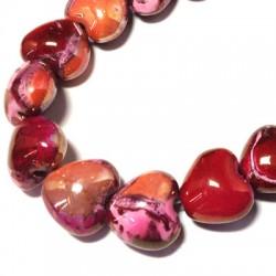 Κεραμική Χάντρα Καρδιά Περαστή με Σμάλτο 22x19mm (Ø4mm)
