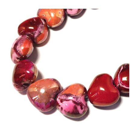 Enamel-Glazed Multi Color Ceramic Slider Heart 22x19mm (Ø 4mm)