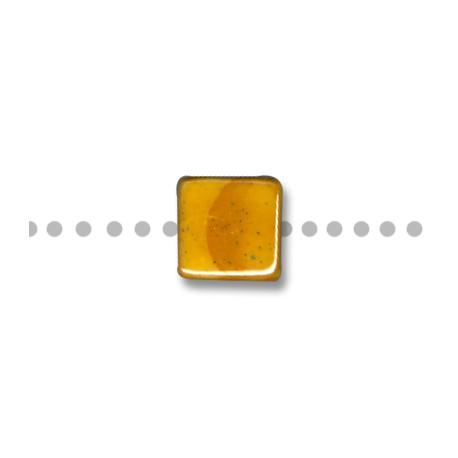 Κεραμική Χάντρα Τετράγωνη Περαστή με Σμάλτο 14mm (Ø3mm)