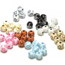 Acrylic Bead 8mm w/ Cross