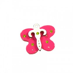 Plexi Αcrylic Pendant Strass Butterfly 27mm