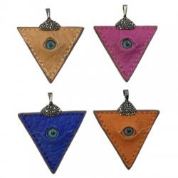 Ciondolo di Cuoio Triangolo con Occhio Turco e Strass 48x50mm