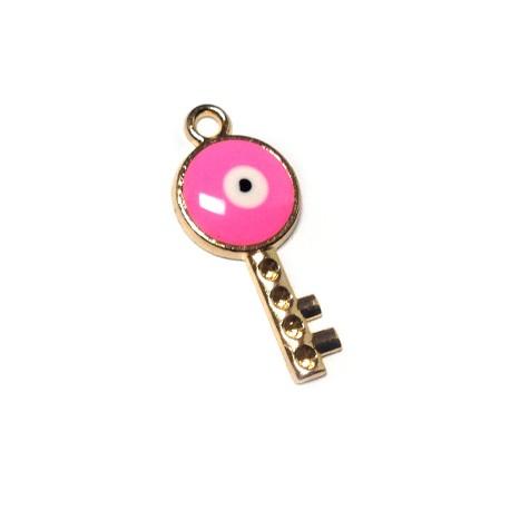 Metal Zamak  Enamel Key Eye 14x31mm