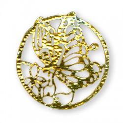 Ciondolo in Ottone Rotondo con Farfalla 48mm