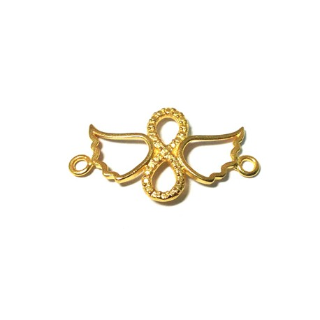 Brass Cast Infinity With Wings and 2 Rings 29x15mm