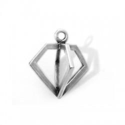 Brass Casting Charm Diamond 19x17mm