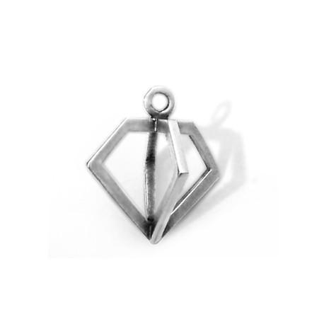 Μεταλλικό Μπρούτζινο Χυτό Μοτίφ Διαμάντι 3D 19x17mm