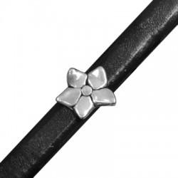 Μεταλλική Ζάμακ Χυτή Χάντρα Λουλούδι Περαστό 16.5mm (Ø 7x10mm) (για Δέρμα Regaliz)