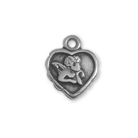Breloque Cœur Cupidon en Métal/Zamac, 18x15mm