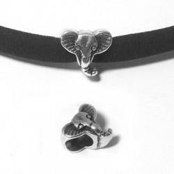 Passant Éléphant en Métal/Zamac, 10x12mm (Ø 5.2mm)