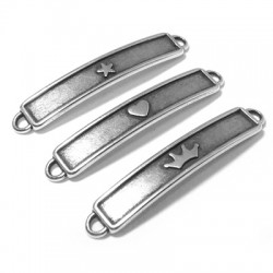 Zamak Connector Bar 3 Mixed Styles 45x8mm (Suitable also for Enameling)
