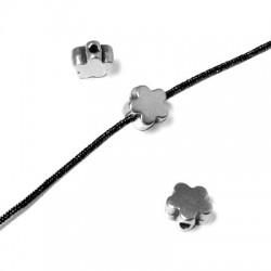 Perle Passant Fleur en Métal/Zamac, 6mm (Ø 1.2mm)