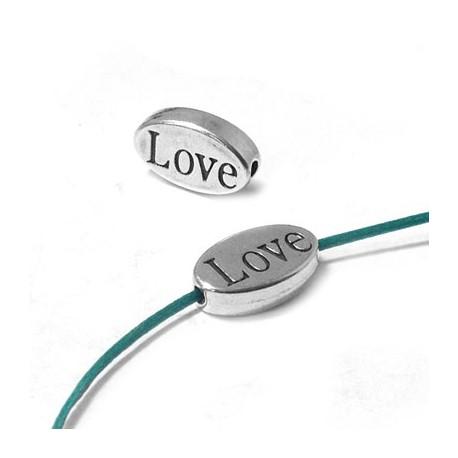 """Passante in Zama Ovale """"LOVE"""" 13x8mm (Ø 1.4mm)"""