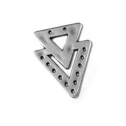 Μεταλλικό Ζάμακ Χυτό Στοιχείο 2 Τρίγωνα 23x28mm (Ø1mm)