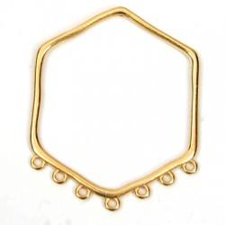 Pendentif Héxagone en Métal/Zamak 50x59mm avec 7 anneaux